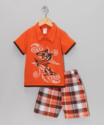 Orange Swirl Polo & Plaid Shorts - Infant & Boys
