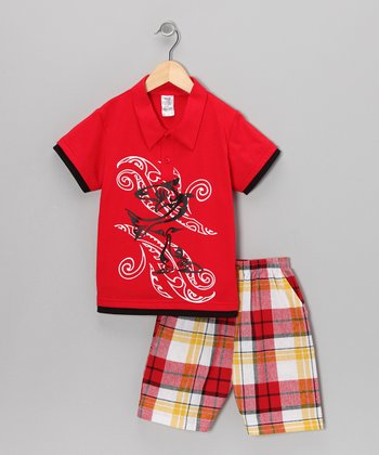 Red Swirl Polo & Plaid Shorts - Infant & Boys