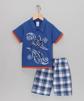 Royal Blue Swirl Polo & Plaid Shorts - Infant & Boys