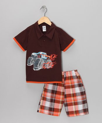 Brown Racer Polo & Plaid Shorts - Infant, Toddler & Boys
