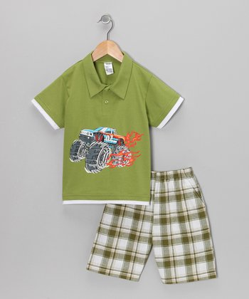 Lime Racer Polo & Plaid Shorts - Infant, Toddler & Boys
