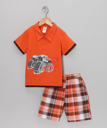 Orange Racer Polo & Plaid Shorts - Infant, Toddler & Boys