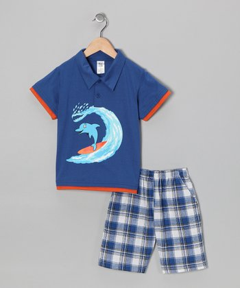 Royal Blue Dolphin Polo & Plaid Shorts - Infant, Toddler & Boys