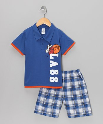 Blue 'Class' Polo & Plaid Shorts - Boys