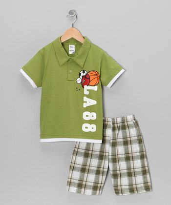 Lime 'Class' Polo & Plaid Shorts - Boys