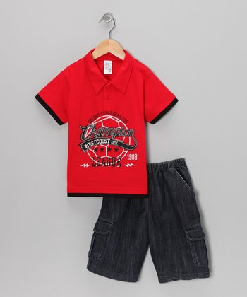 G&J Relations Red Polo & Classic Wash Shorts - Infant