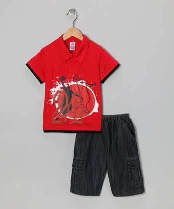Red Basketball Polo & Jean Shorts - Boys