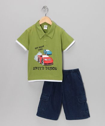 G&J Relations Lime Car Polo & Classic Wash Shorts - Infant, Toddler & Boys