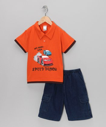 Orange Car Polo & Classic Wash Shorts - Infant, Toddler & Boys