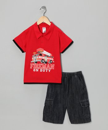 Red Fire Truck Polo & Jean Shorts - Infant, Toddler & Boys
