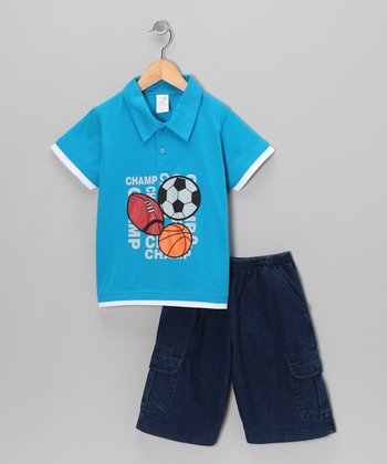 Turquoise All-Sport Polo & Shorts - Infant, Toddler & Boys