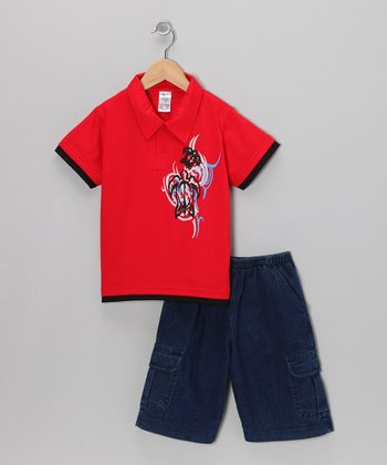 Red Swirl Polo & Classic Wash Shorts - Infant, Toddler & Boys