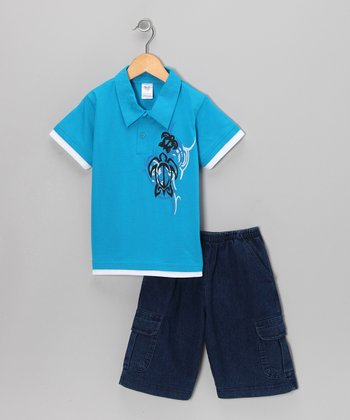 Blue Swirl Polo & Classic Wash Shorts - Infant, Toddler & Boys