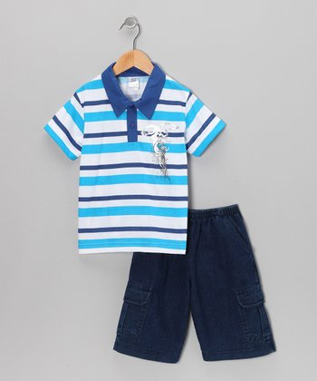 Blue Stripe Polo & Classic Wash Shorts - Infant, Toddler & Boys