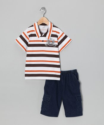 Brown Stripe Polo & Jean Shorts - Infant & Toddler
