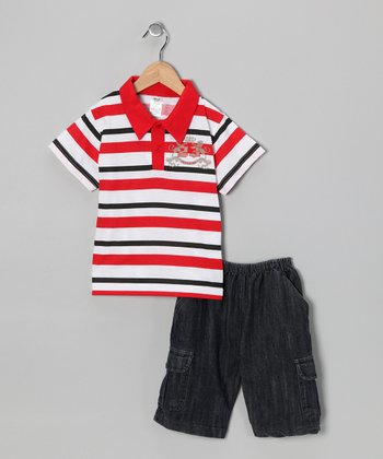 Red Stripe Polo & Jean Shorts - Infant, Toddler & Boys