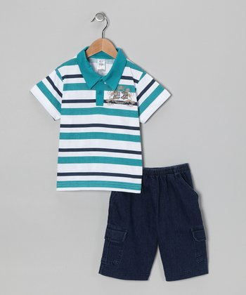 Teal Stripe Polo & Jean Shorts - Infant, Toddler & Boys
