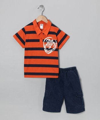 Orange Turtle Polo & Jean Shorts - Infant, Toddler & Boys