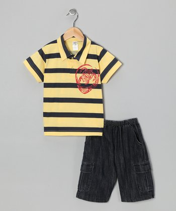 Yellow Turtle Polo & Jean Shorts - Infant, Toddler & Boys