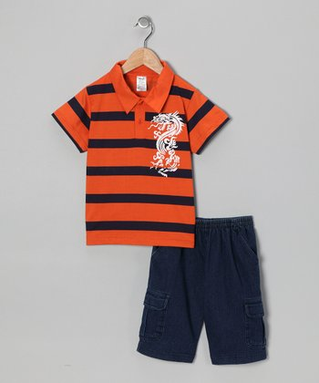 Orange Dragon Polo & Jean Shorts - Infant & Boys
