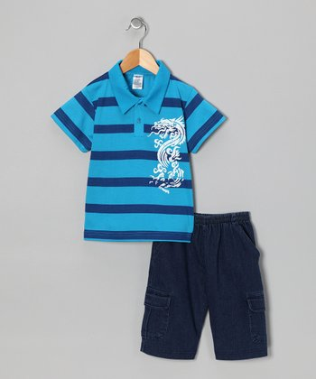 Turquoise Dragon Polo & Jean Shorts - Infant & Boys