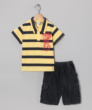 Yellow Dragon Polo & Jean Shorts - Infant & Boys