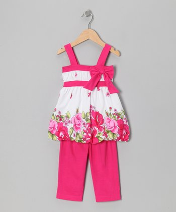Fuchsia Floral Bow Tunic & Leggings - Toddler & Girls