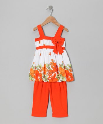 Orange Floral Bow Tunic & Leggings - Toddler & Girls