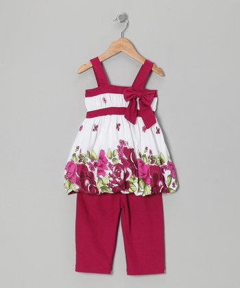 Raspberry Floral Bow Tunic & Leggings - Toddler & Girls