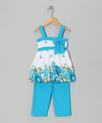 Turquoise Floral Bow Tunic & Leggings - Toddler & Girls