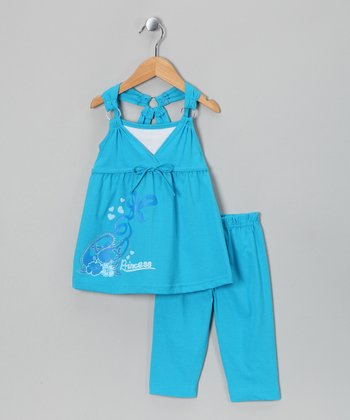 Turquoise Racerback Tank & Capri Pants - Toddler & Girls