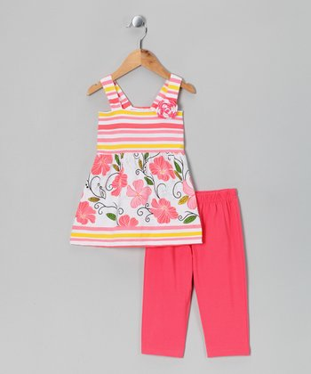 White & Coral Tank & Capri Pants - Infant, Toddler & Girls