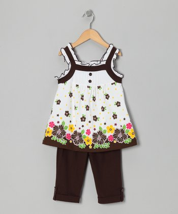 Brown Floral Tunic & Leggings - Toddler & Girls