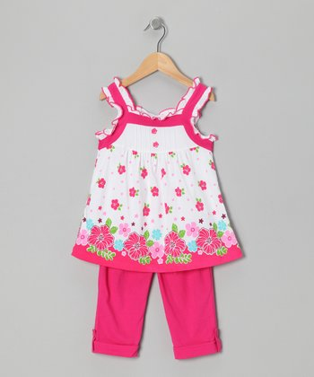 Fuchsia Floral Tunic & Leggings - Toddler & Girls