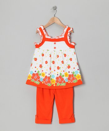 Orange Floral Tunic & Leggings - Toddler & Girls