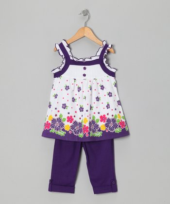 Purple Floral Tunic & Leggings - Toddler & Girls