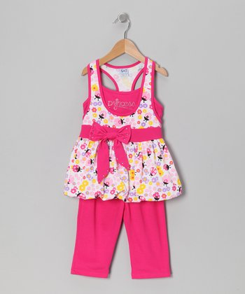 Fuchsia 'Princess' Bubble Tunic & Leggings - Toddler & Girls
