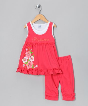 Coral 'Princess' Tank & Capri Pants - Toddler & Girls