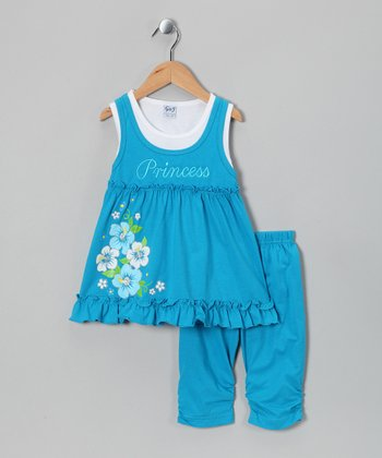 Turquoise 'Princess' Tank & Capri Pants - Toddler & Girls