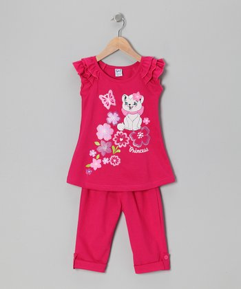Fuchsia Floral Cat Tunic & Leggings - Toddler & Girls