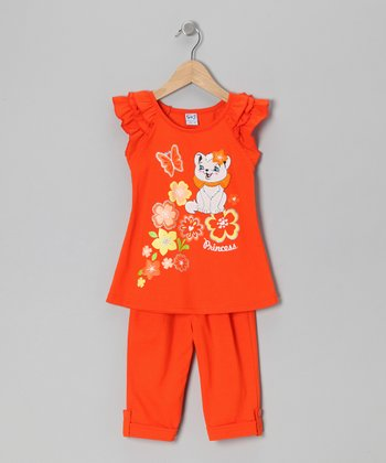 Orange Floral Cat Tunic & Leggings - Toddler & Girls