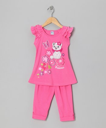 Pink Floral Cat Tunic & Leggings - Toddler & Girls