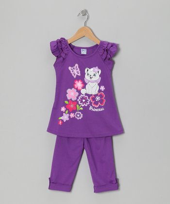 Purple Floral Cat Tunic & Leggings - Toddler & Girls