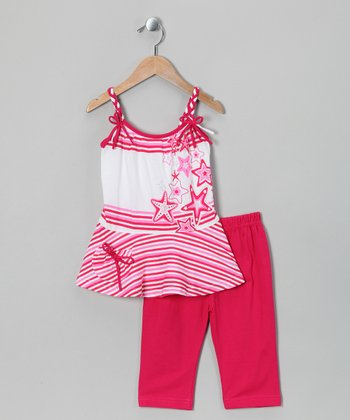Fuchsia Bow Tank & Capri Pants - Toddler & Girls