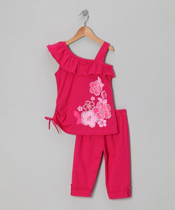 Fuchsia Floral Asymmetrical Tunic & Leggings - Toddler & Girls