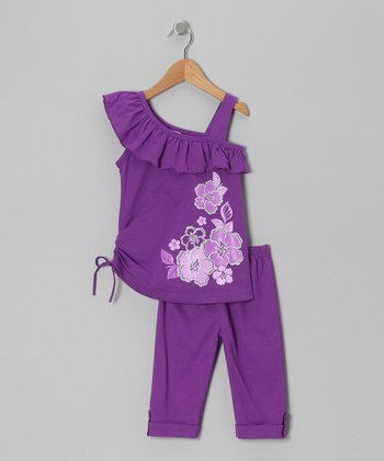 Purple Floral Asymmetrical Tunic & Leggings - Toddler & Girls
