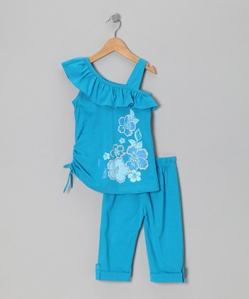 Turquoise Floral Asymmetrical Tunic & Leggings - Toddler & Girls
