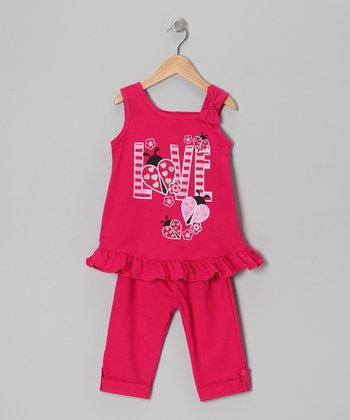 Fuchsia 'Love' Tunic & Leggings - Toddler & Girls