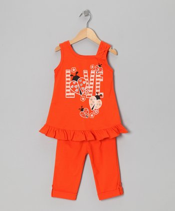 Orange 'Love' Ruffle Tunic & Leggings - Toddler & Girls