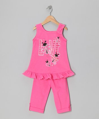 Pink 'Love' Tunic & Leggings - Toddler & Girls